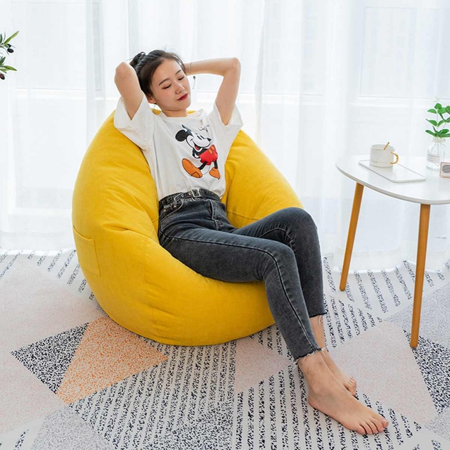 Nesloth Lazy BeanBag Sofas Cover+Inner Liner Chairs without Filler  Lounger Seat Bean Bag Pouf Puff Couch Tatami Living Room 2