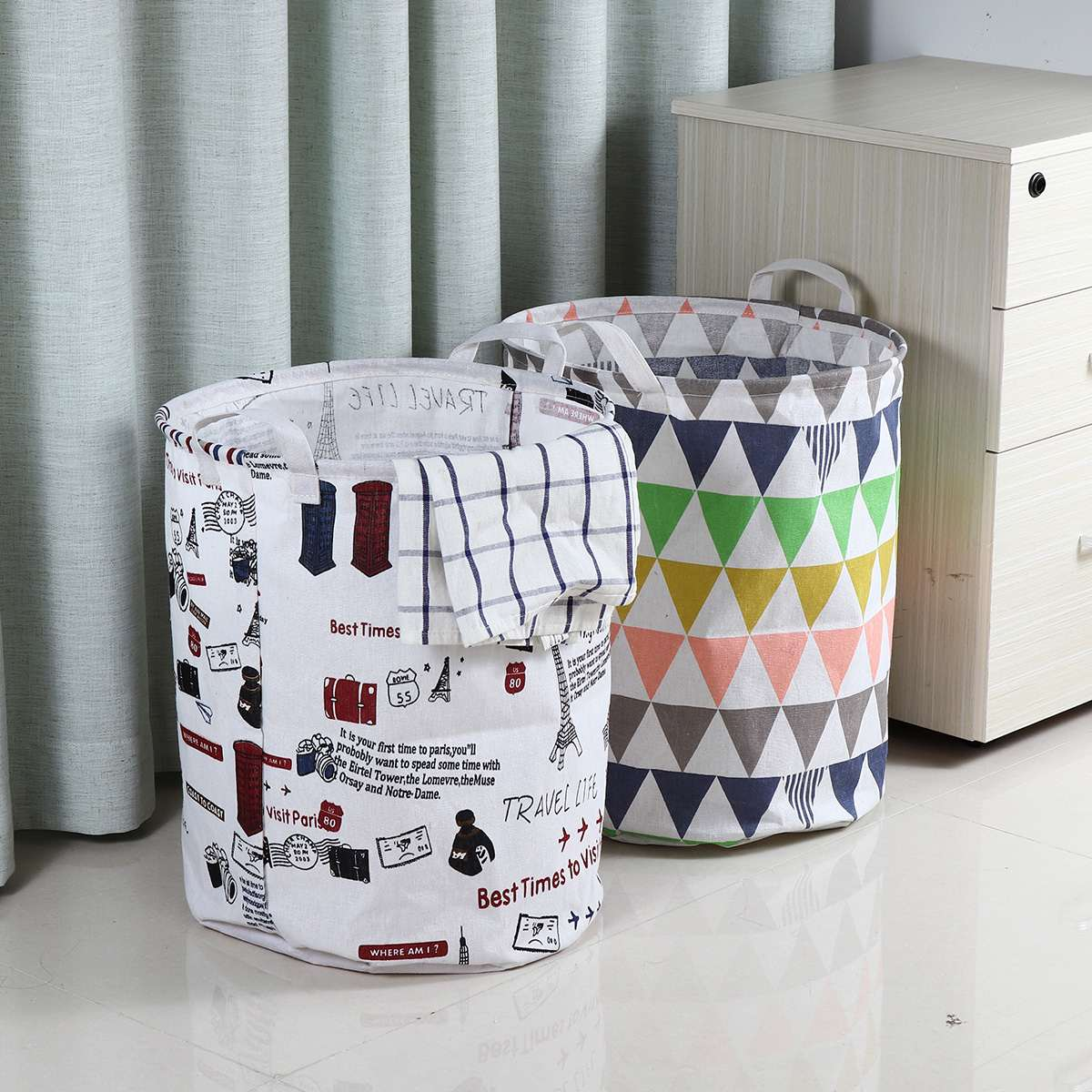 Foldable Laundry Basket Large Capacity Waterproof Durable Cotton Linen Clothes Laundry Basket Hamper Book Storage Organizer Bag