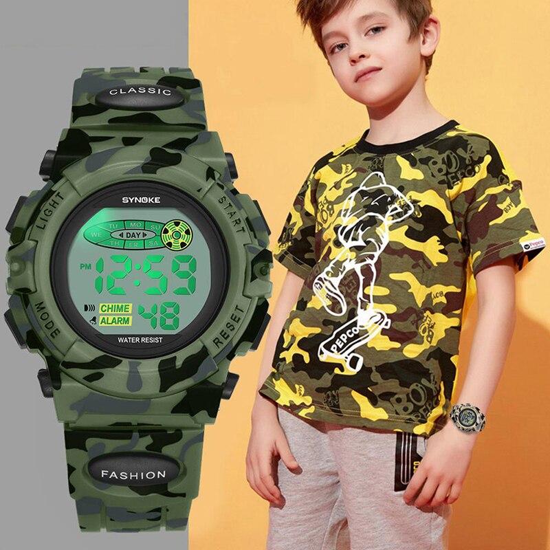 Дети% 27 часы SYNOKE ремешок водонепроницаемый будильник часы ребенок милитари стиль светодиодные наручные часы электронные красочные светящиеся Reloj Hombre