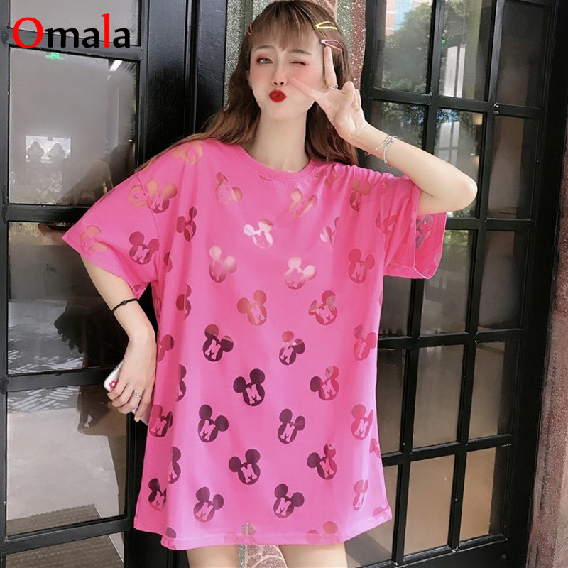Harajuku Ulzzang Loose Tshirt Sexy Cartoon Cutout T-Shirts 2020 Summer Women Short Sleeve T Shirt Casual Kawaii Black Tops Tees