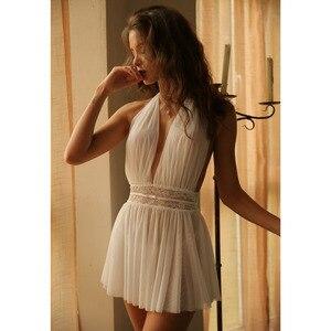 Image 4 - Camisola de renda aberta feminina, lingerie sexy, vestido para dormir, costas abertas, perspectiva para casa, vestido de sala privativa