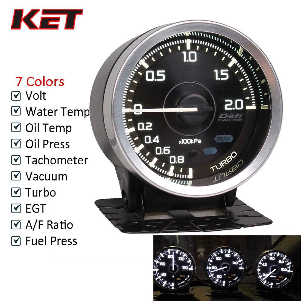 Defi A1 2.5 אינץ 60mm 7 צבעים Defi שעוני המים טמפ טמפ שמן טורבו Boost שמן לחץ טמפ Ext אוויר דלק יחס AFR