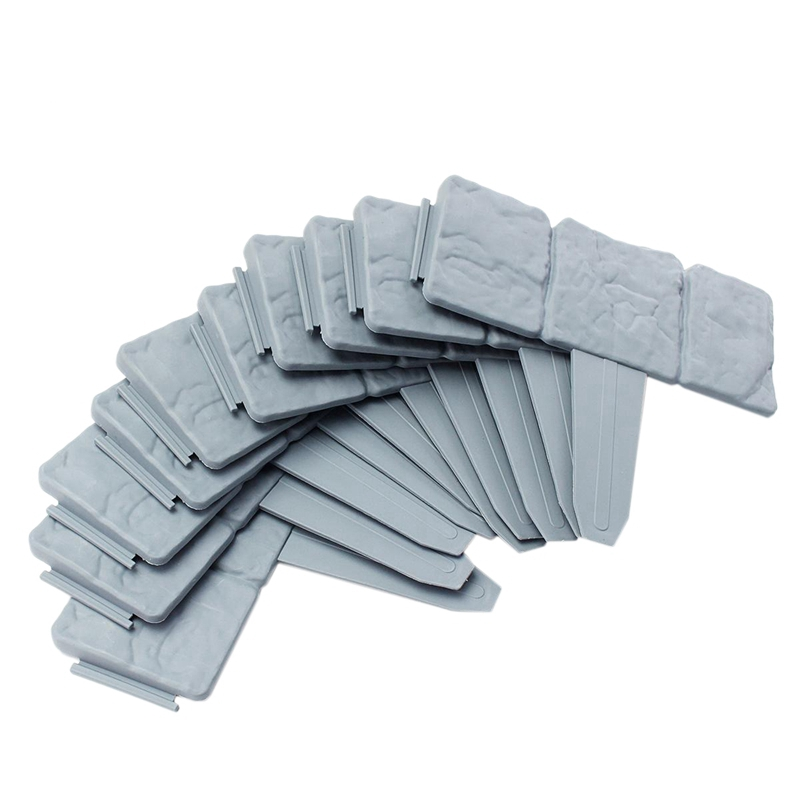 Grey Garden Fence Edging Cobbled Stone Effect Plastic Lawn Plant Border Decorations Flower Bed