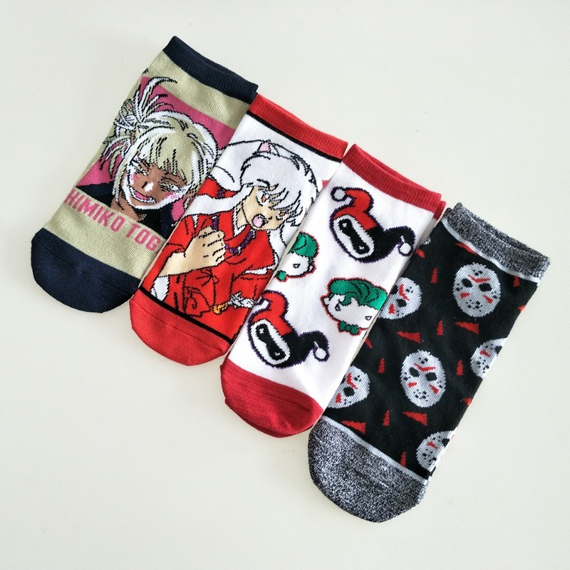 Socks Inuyasha Women Cartoon Anime Cotton Funny Short Sock Cute Kawaii Art Happy Comfortable Streetwear Fashion Casual Skarpetki