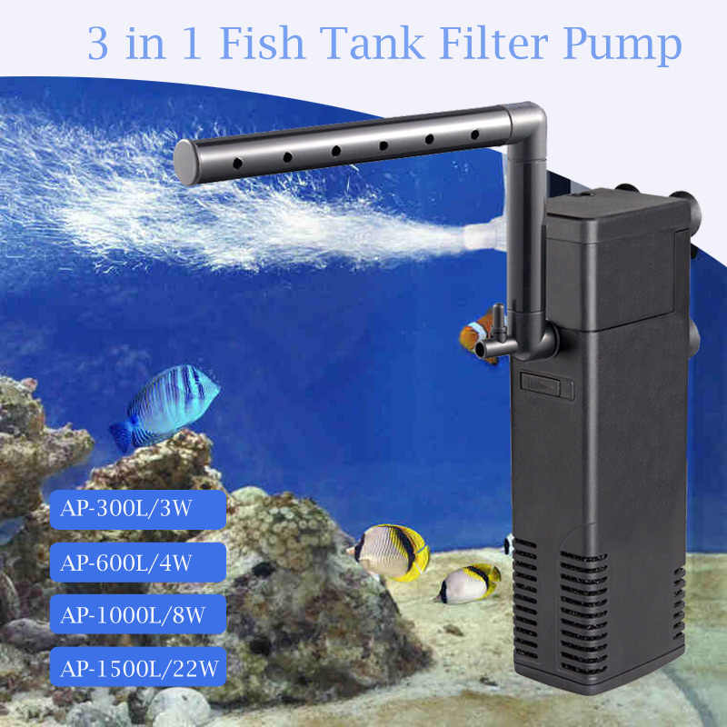 Aquarium Filter Submersible Power Internal Filters For Fish Tank Filter Pump 3 in 1  Spray Flow Biological Filters 3W/4W/8W/22W