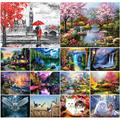 5D DIY diamond painting new round landscape waterfall diamond embroidery mosaic sea view room complete art rhinestone home decor