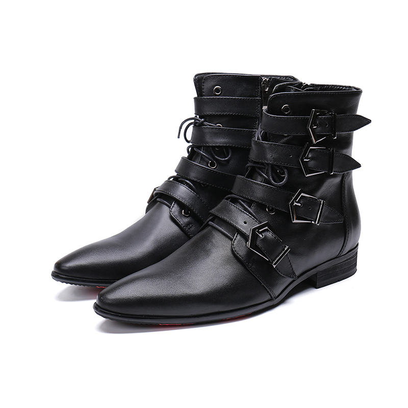 Genuine Leather Zip Lace-up Ankle Boots Fashion 4 Buckles Bullock Carved Dress Shoes Pointed Toe Martin Boots Big Size 46