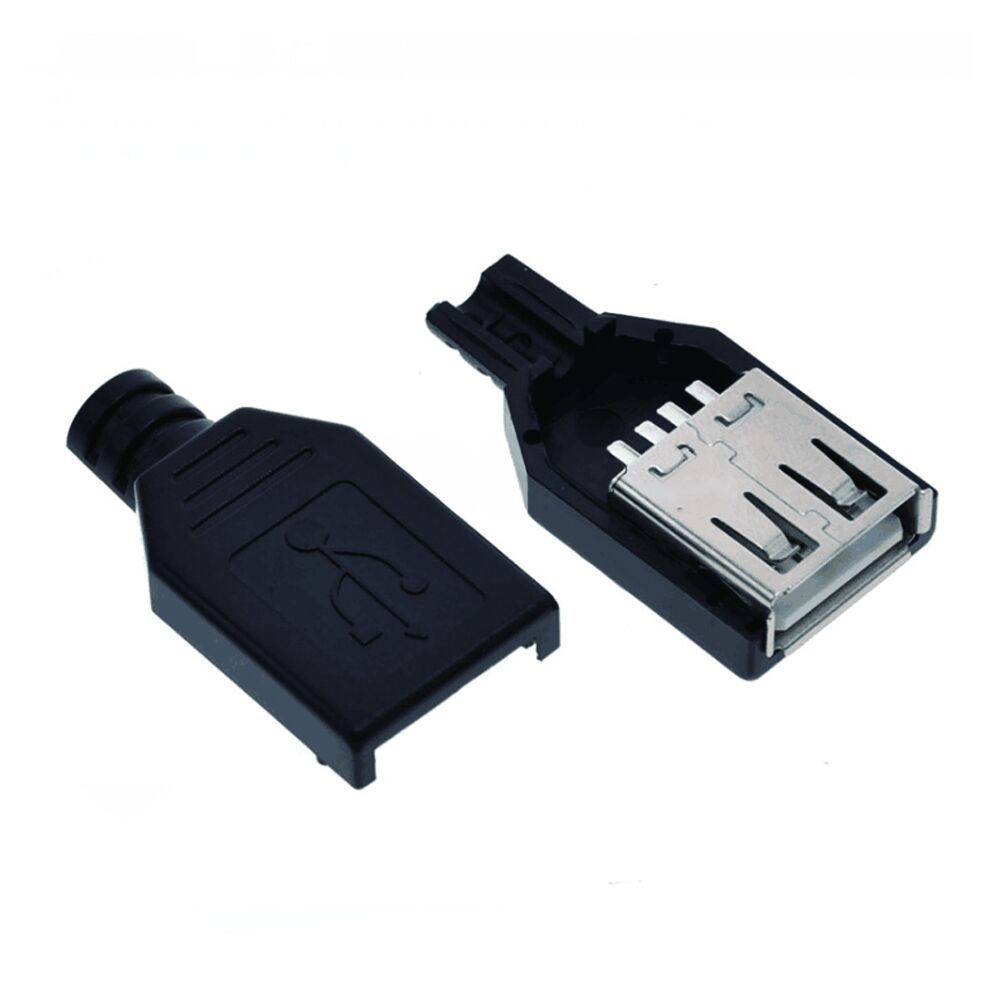 10pcs Type A Female USB 4 Pin Plug Socket Connector With Black Plastic Cover USB 2.0 Connect Adapter DIY Kit