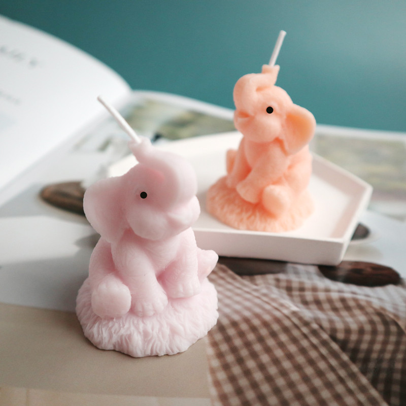 Cute Elephant Candle Silicone Mold 3D Animals Candle Soap Mould DIY Gypsum Plaster Molds For Car Decoration