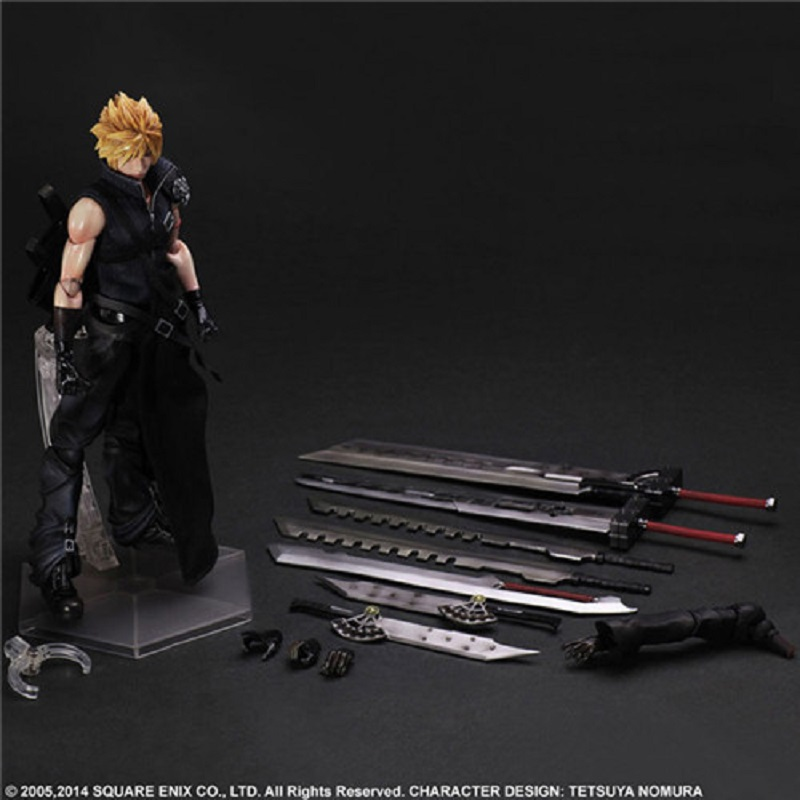 28cm <font><b>final</b></font> <font><b>fantasy</b></font> <font><b>7</b></font> claude cloud play action figure figurines collect toys collection anime cartoon model toys collectible T30 image