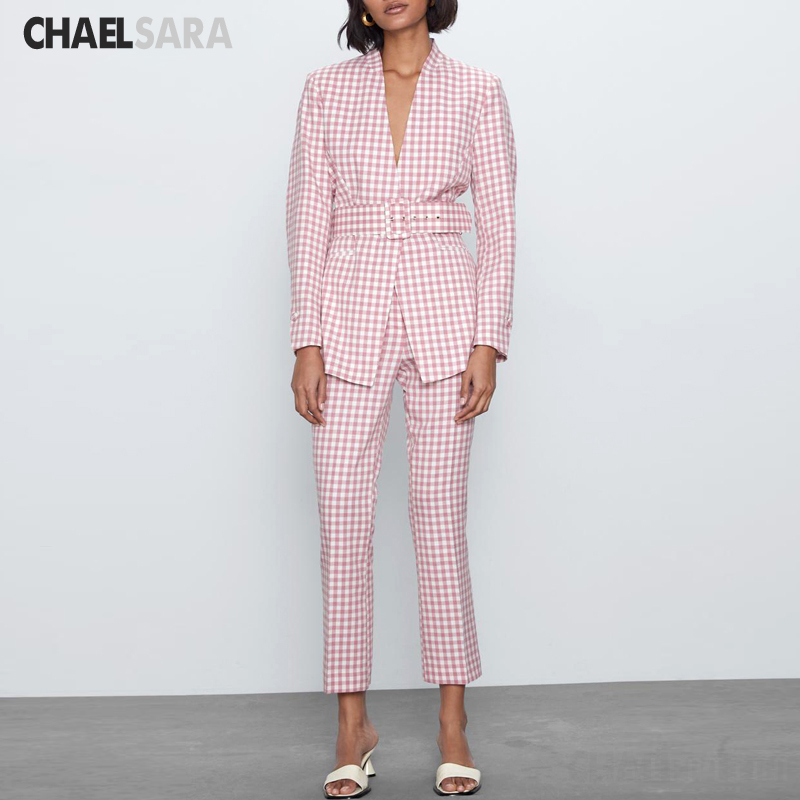 Vintage Plaid Pants Suit Women Casual V-Neck With Belt Blazer Jacket Coat+Pant Suits Female Pink Office Two Piece Set