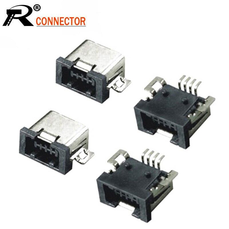 10pcs/lot Mini USB 4 Pin Female SMT USB Connector Mini USB PCB Mount Adapter  Wholesales