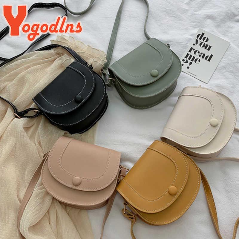 Yogodlns moda nova feminina crossbody bolsa de ombro retro sela couro do plutônio pequena senhoras sacos cor pura