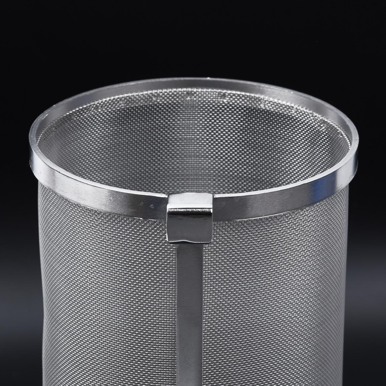 US STOCK Stainless Steel Wine Beer Dry Hops Filter Barrel Strainer Beer Wine Brewing Grain Basket Dry Hop Hopper Filter Strainer Cylinder 300 Micron Mesh 310x300mm for Homebrew Wine Beer
