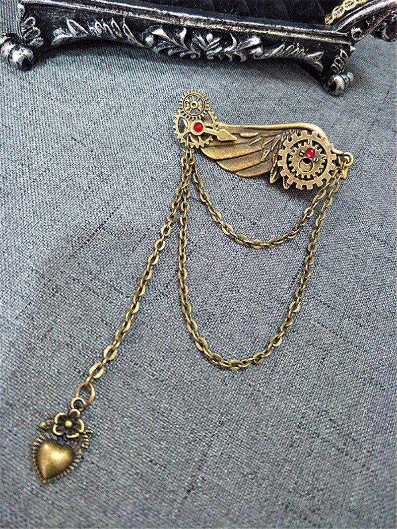 Унисекс Симпатичные Лолита шестерни крылья заколки с орнаментом заколки для волос часы цепи стимпанк готический женский головной убор винтажные аксессуары