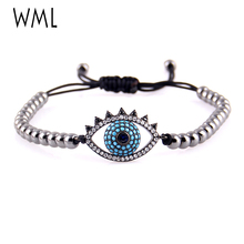 WML Fashion cubic zircon Eye Series Charms 4mm copper beads Braided Macrame women bracelets & Bangles for Jewelry