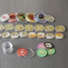50 peças 19 20 25 27 30 40mm claro plástico protetor cápsulas caso recipientes para token jogo de tabuleiro moeda coleção titular caixas