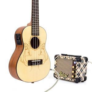 Image 3 - Kmise Electric Acoustic Ukulele Concert Solid Spruce Ukelele Uke 23 inch 18 Fret with Gig Bag