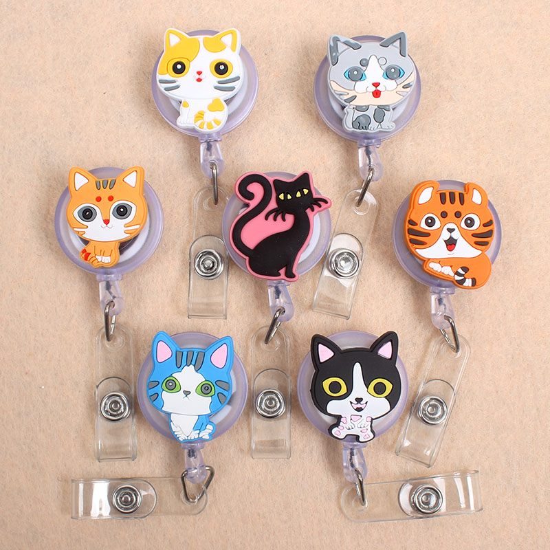 7 Styles Pretty Cat Girl Retractable Creative Plastic Badge Holder Reel Students Nurse Exhibition Enfermera Name Card Chest Card