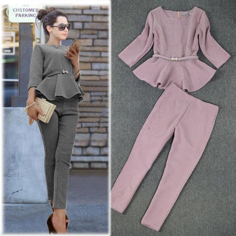 New 2020 Spring Autumn Fashion Women's Business Pants Suits  Pattern Ruffles Suits For Women 2 Pieces Set
