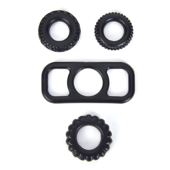 Black Silicone Basic Penis Ring Set Stretchy Cock Ring Cockring Sex Dick rings for Men Harder Erecti