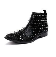Men Vogue Punk Spikes Studs Horse Hair Bikers Chelsea Ankle Boots Shoes Genuine Leather Plus Size Black New 2020(China)