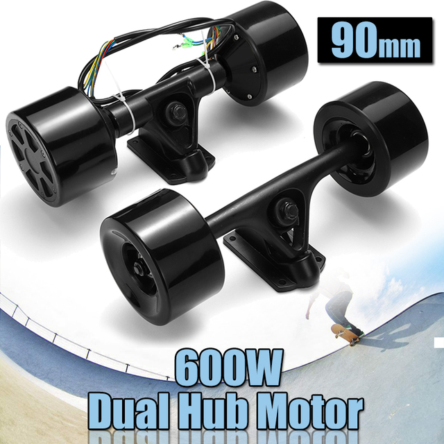 ハイパワーデュアルドライブ90ミリメートル600ワット電動スケートボードハブモーターキットdcブラシレスリモコンで操作スクータードライブハブモーター