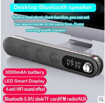Bluetooth Speaker Wireless Sound Box 3D Surround Sound System Soundbar Hifi Stereo Subwoofer with 3000 MAh Battery Fm Radio