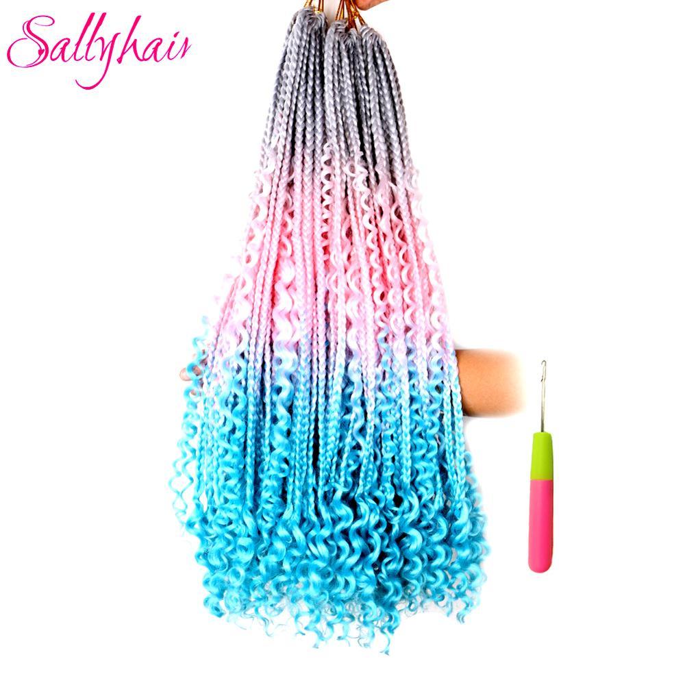 ÉPromoteSallyhair Hair-Extensions Braiding-Hair Crochet-Hair Curly-End Goddess-Box Colorful Syntheticá