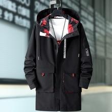 2020 Spring Men Trench Coat Fashion Long Coat Hooded Men Long Jacket Autumn Men