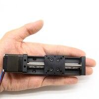 0.05 mm Accuracy Minislidingtable Stroke 15 300mm Lead Screw T6 Screw pitch 1mm including NEMA11 motor