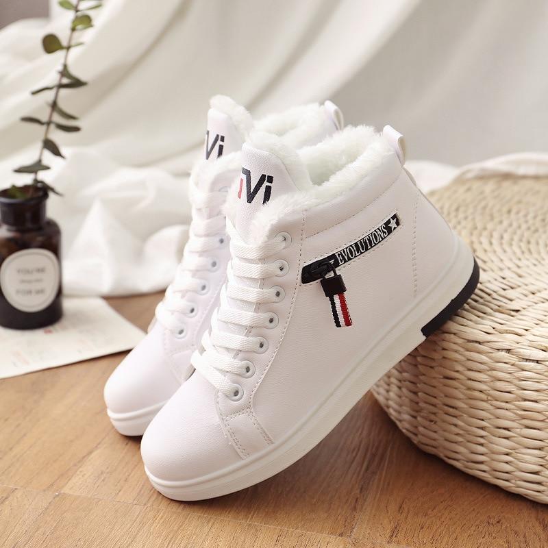 2019 buty zimowe damskie botki ciepłe PU pluszowe buty zimowe kobieta trampki mieszkania zasznurować buty damskie damskie krótkie buty na śnieg