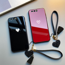 For OPPO A59 A39 A57 A1 A73 A79 A83 Case Free strap Red Black Heart Hard Glass Cover For OPPO A7X A77 A37 A33 phone Casing glitter summer fruit soft case for oppo f5 f9 a83 a59 a57 a39 a79 a5 a3s a3 a7 a7x r15x k1 r17 pro r9 r9s r11 r11s plus cover