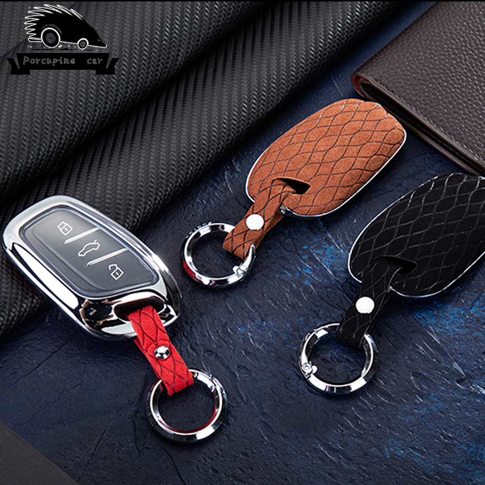 Zinc Alloy Leather TPU Car Key Fob Case Cover Set Skin Protector For MG MorrisGarages ZS EV HS 3button Key