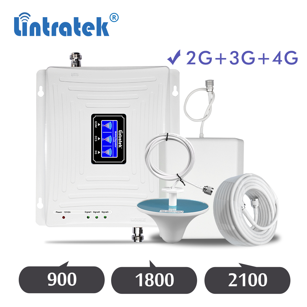 Lintratek 900 1800 2100 Tri Band 2G 3G 4G Repeater GSM 900mhz DCS 1800mhz WCDMA 2100mhz Cellular Signal Amplifier Booster Set Dd