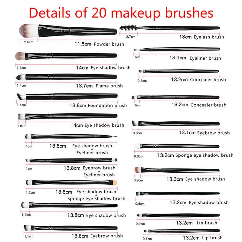 La Milee 20/5Pcs Make-Up Kwasten Set Oogschaduw Foundation Poeder Eyeliner Wimper Lip Make Up Borstel Cosmetische beauty Tool Kit Hot