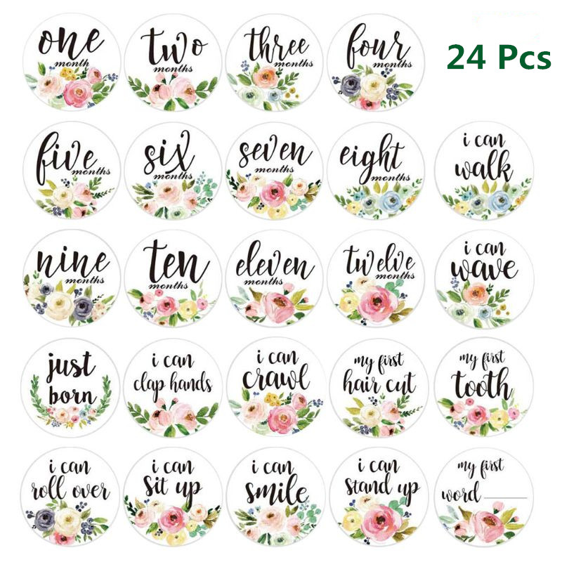 24Pcs Baby Month Stickers Self-Adhesive Milestone 12 Months Cards Skills Cards Newborn Pregnant Women Monthly Photograph Props