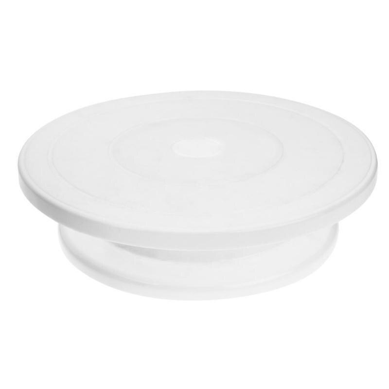 Plastic Cake Mounting Table Portable Stable Cake Tray DIY Mounting Rotating Stand DIY Cake Rack Baking Tool(White)