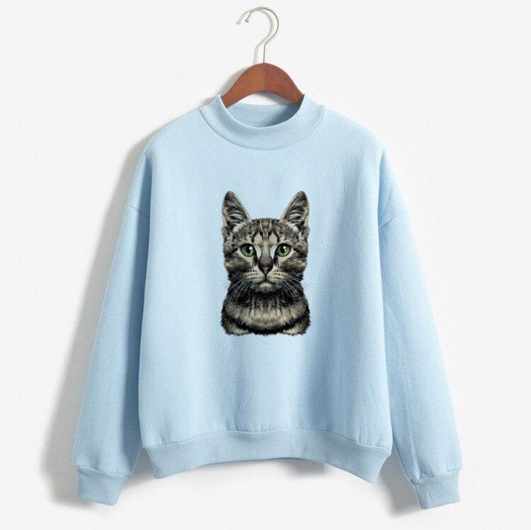Long Sleeve O-Neck Fleece Tops 2019 Women Sweatshirts Hoodies Cats Printed Casual Pullover Cute Top M-XXL Harajuku Hoodies White
