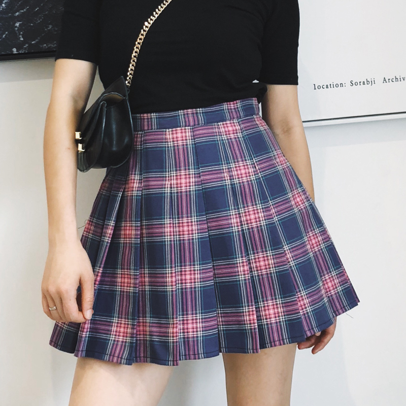 New Women England Style Casual Purple Plaid Pleated Skirts Shorts Hot Sale Harajuku High Waist Plaided Mini Skirt Plus Size S332