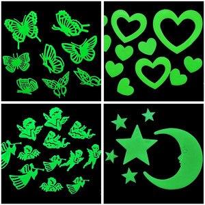 Kids Bedroom Fluorescent Glow In The Dark Stars Glow Wall Stickers Stars Luminous Luminous Glow Romantic starry sky