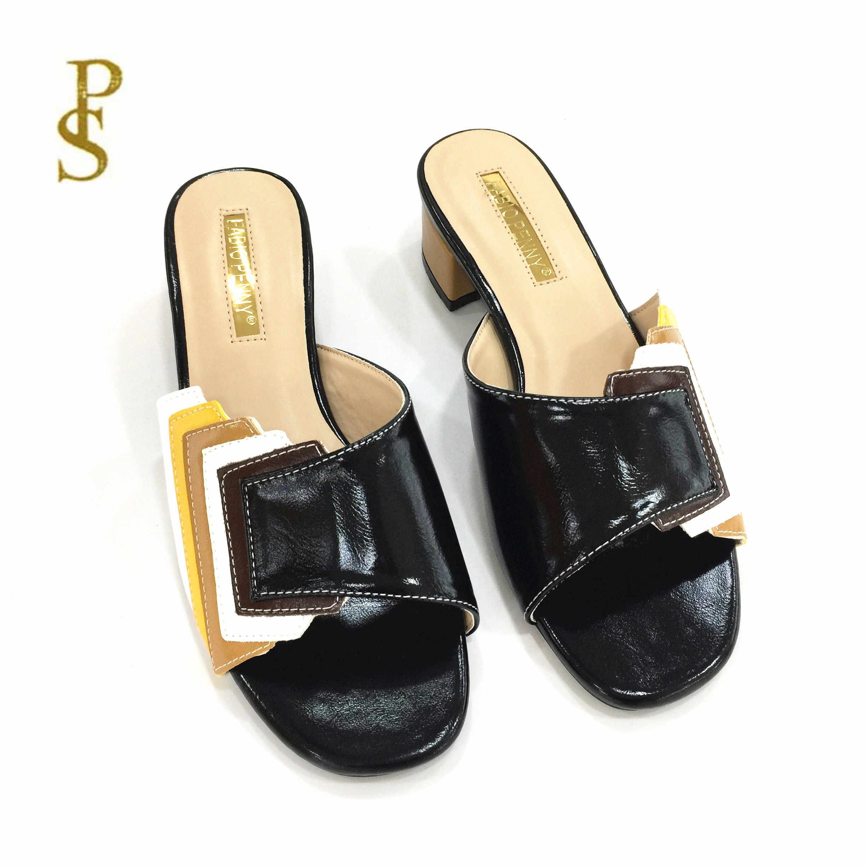 Moda ve narin Patchwork çok renkli ladies'slippers kadın terlik nijerya