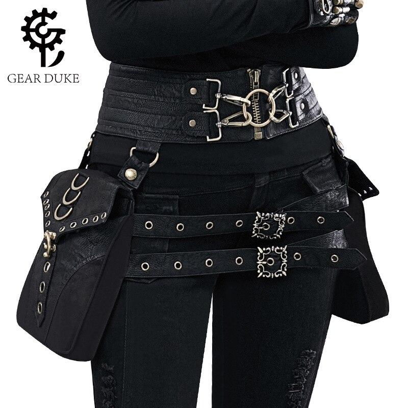 Deepeel1pc 23*70cm Women Black PU Double Bags Cummerbunds Punk Metal Pin Buckle Wide Bandage Adjustable Gothic Bags Girdle CB661