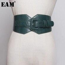 EAM – culotte fendue en cuir Pu noir, large ceinture, va avec tout, nouvelle mode, printemps automne 2021, 1B370