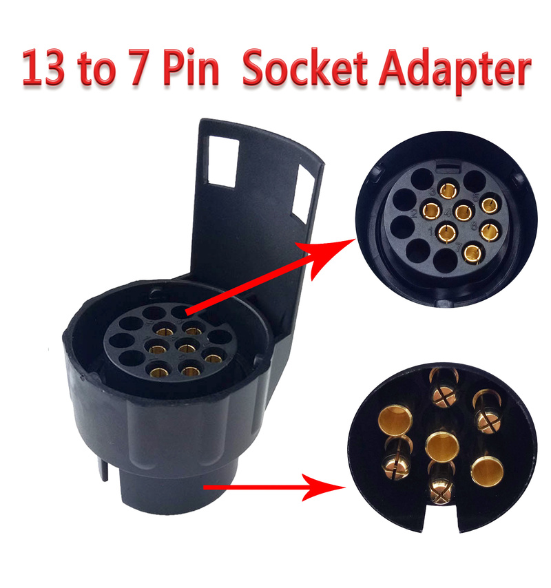 13 To 7 Pin  Trailer Connector 12V Towbar Towing Plug Adapter Durable Waterproof Plugs Socket Adapter Protects Connections