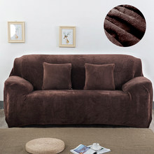 Plush Sofa Cover Solid Color Modern Stretch Thicken Sofa Covers for Living Room Cover Slip for Sofa L Shape/Corner Sofa Cover(China)