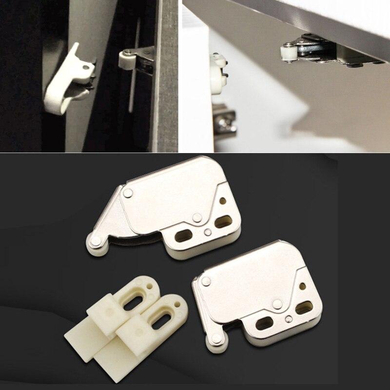 4pcs/set Cabinet Lock Mini Pressure Closure Cabinet Security Lock Closet Furniture Door Closing Brand New