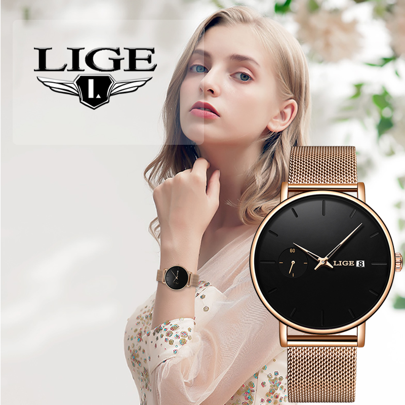2020 LIGE Women Watch Top Brand Luxury Waterproof Watch Fashion Ladies Stainless Steel Ultra-Thin Quartz Wrist Watch Reloj Mujer