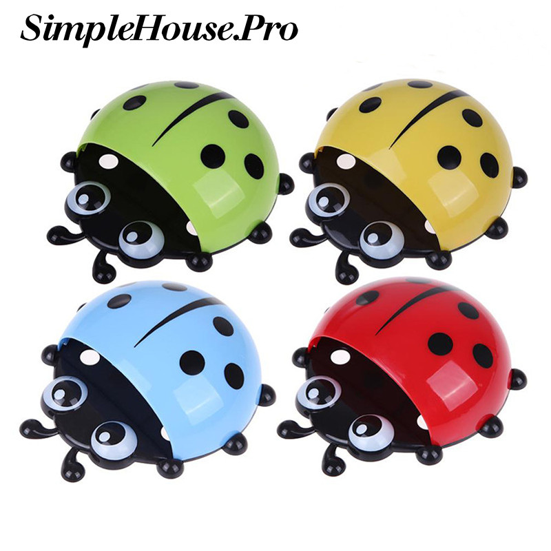 Toothbrush Cup Holder Storage Rack For Home Ladybug Toothbrush Holder Strong Suction Cup Creative PVC Wall Mount Suction Cup