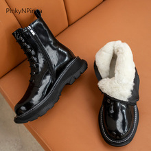 Ankle-Boots Black Waterproof Outdoor Plus-Size Winter Genuine-Leather Women Unisex Lining